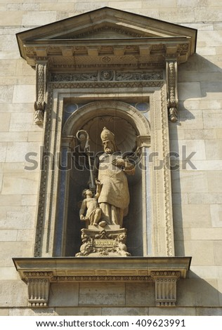 BUDAPEST, HUNGARY - April 12, 2016. Statue of St Augustine at St Stephen's Basilica, Budapest, Hungary  - stock photo