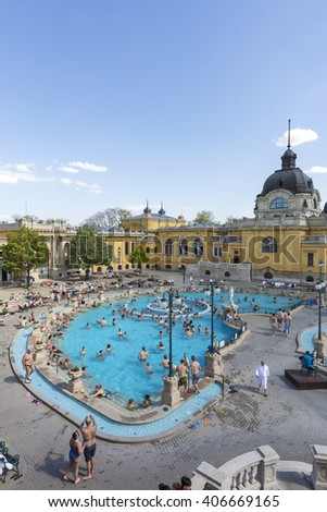 Budapest, Hungary. April 16, 2016: Szechenyi Baths in Budapest in Hungary on a sunny day. The biggest bath complex in Europe. - stock photo
