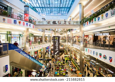BUDAPEST, HUNGARY - AUG 27, 2014: Interior of  West End City Center, a shopping centre in Budapest, Hungary. it is the former largest mall in Central Europe and it was opened on Nov 12, 1999