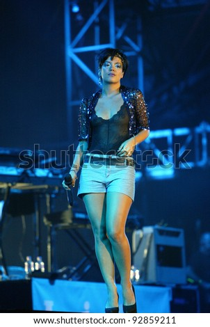 BUDAPEST, HUNGARY - AUG 12: Pop singer Lilly Allen in concert at the annual Sziget music festival in Budapest, Hungary, on Wednesday, August 12, 2009.