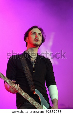 BUDAPEST, HUNGARY - AUG 12: The rock band Snow Patrol in concert at the Sziget music festival in Budapest, Hungary, on Wednesday, August 12, 2009.  Snow Patrol are an alternative rock band from Northern Ireland and Scotland. - stock photo