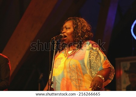 BUDAPEST, HUNGARY - AUGUST 17, 2014: American gospel, soul and blues singer Sharrie Williams performs on Sziget festival - stock photo