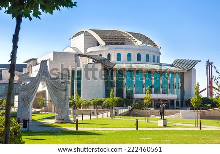 Budapest, Hungary - August 2, 2013: Budapest National Theater, Hungary - stock photo