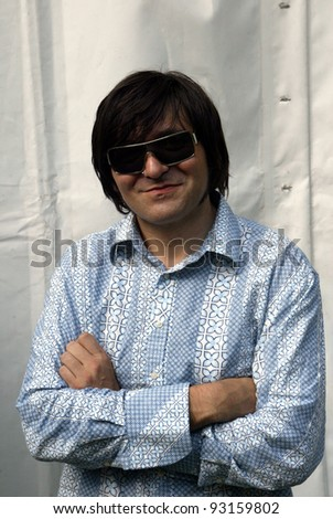 BUDAPEST, HUNGARY - AUGUST 10: Die Aerzte (Die Arzte) at the annual Sziget music festival in Budapest, Hungary. Seen here is bassist Rod Gonzales on August 10, 2004 in Budapest, Hungary