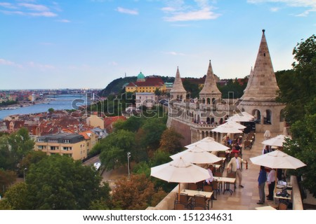 BUDAPEST, HUNGARY-13 AUGUST: Fisherman's Bastion on August 13,2013 in Budapest.Fisherman's Bastion is a terrace in neo-Gothic and neo-Romanesque style.It was designed and built between 1895 and 1902. - stock photo