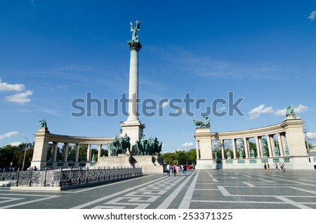 Budapest, Hungary - August 25th 2014: Heroes Square (Hosok tere)