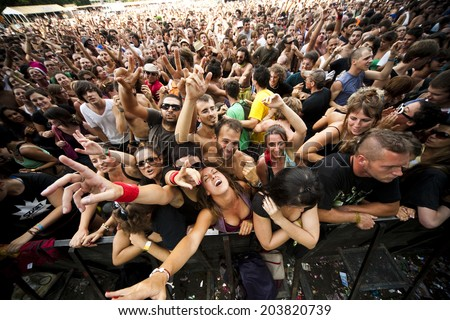 Budapest, Hungary - August 10th 2010: The crowd enjoying a concert in the main stage area of the Sziget Festival