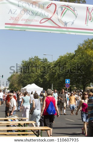 BUDAPEST, HUNGARY - AUGUST 20: Unidentified people participate the ceremonies of the annual constitution day of Hungary on August 20, 2012 in Budapest, Hungary. Street of tastes is the most popular.