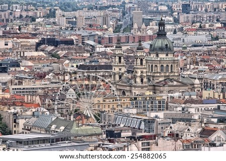 Budapest, Hungary - capital city aerial view. Old Town of Pest. - stock photo
