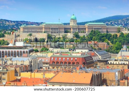 Budapest, Hungary - city skyline with Buda Castle. Old Town aerial view. - stock photo