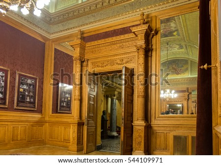 BUDAPEST, HUNGARY - DECEMBER 9, 2016: Interior of the Hungarian Royal State Opera House
