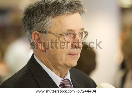 BUDAPEST, HUNGARY - DECEMBER 14: Laszlo Lovasz Kioto Price awarded mathematician on his salutation on the ELTE University on December 14, 2010 in Budapest, Hungary.