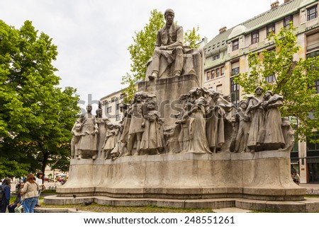 BUDAPEST, HUNGARY/EUROPE - MAY 21 2014 : Statue of Mihaly Vorosmarty in Budapest, one of the frequented place in the heart of the city  to visitors and locals as well.  - stock photo