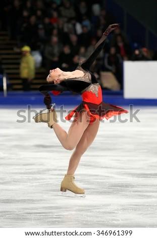 BUDAPEST, HUNGARY - JANUARY 17, 2014: Alena LEONOVA of Russia performs free program at ISU European Figure Skating Championship in Syma Hall Arena. - stock photo
