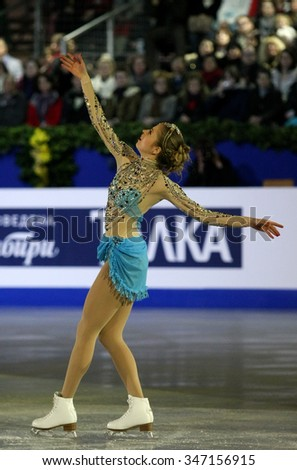 BUDAPEST, HUNGARY - JANUARY 19, 2014: Carolina KOSTNER of Italy performs during the exhibition gala at ISU European Figure Skating Championship in Syma Hall Arena. - stock photo