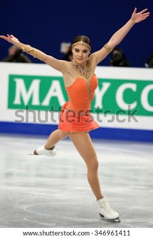 BUDAPEST, HUNGARY - JANUARY 17, 2014: Elena GLEBOVA of Estonia performs free program at ISU European Figure Skating Championship in Syma Hall Arena. - stock photo
