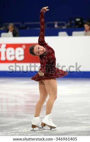 BUDAPEST, HUNGARY - JANUARY 17, 2014: Elene GEDEVANISHVILI of Georgia performs free program at ISU European Figure Skating Championship in Syma Hall Arena. - stock photo
