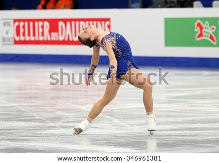BUDAPEST, HUNGARY - JANUARY 17, 2014: Nathalie WEINZIERL of Germany performs free program at ISU European Figure Skating Championship in Syma Hall Arena. - stock photo