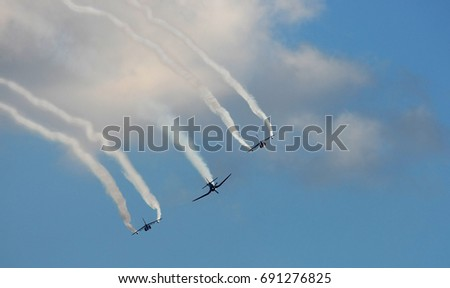 BUDAPEST, HUNGARY - JUL 01, 2017: Air show of the Red Bull Air Race World Championship 2017 - F4U-4 Corsair or Alpha Jet