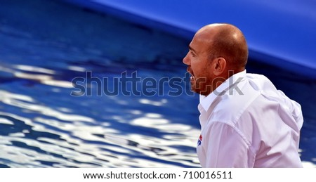 Budapest, Hungary - Jul 17, 2017. Ivica Tucak, head coach of Croatia. FINA Waterpolo World Championship was held in Alfred Hajos Swimming Centre in 2017.