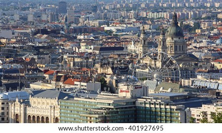 BUDAPEST, HUNGARY - JULY 09: Aerial Cityscape in Budapest on JULY 09, 2015. Sunny Afternoon City Panorama From Citadella in Budapest, Hungary.