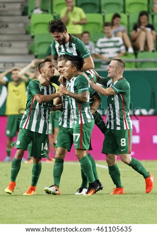 BUDAPEST, HUNGARY - JULY 30, 2016: Emir Dilaver (L3) of FTC celebrates his goal with teammates during the OTP Bank Liga match between Ferencvarosi TC and DVTK at Groupama Arena.