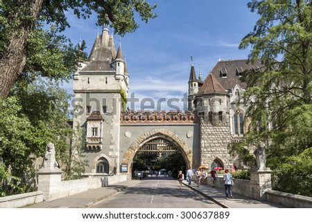 BUDAPEST, HUNGARY, JULY 11, 2015: Entrace gate of Vajdahunyad Castle in the City Park of Budapest, Hungary. It was built in 1896. - stock photo