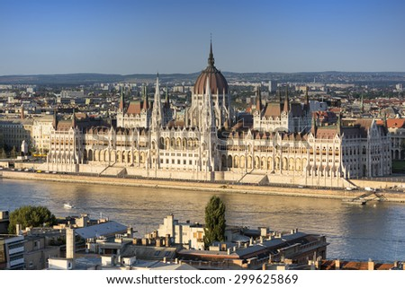 BUDAPEST, HUNGARY, JULY 10,2015: Exterior shot of Hungarian Parliament Building and Danube River, Budapest, Hungary. - stock photo