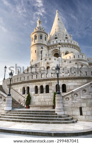BUDAPEST, HUNGARY, JULY 10, 2015: Exterior view of Fisherman's Bastion, a terrace in neogothic and neoromanesque style situated on the Buda bank of the Danube, inside Buda Castle district. - stock photo