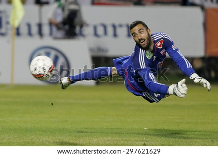 BUDAPEST, HUNGARY - JULY 18, 2015: Goalkeeper Branislav Danilovic of Videoton watches the ball flying into his goal during Honved vs. Videoton OTP Bank League football match in Bozsik Stadium.