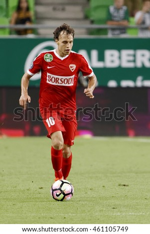 BUDAPEST, HUNGARY - JULY 30, 2016: Istvan Bognar of DVTK controls the ball during the Hungarian OTP Bank Liga match between Ferencvarosi TC and DVTK at Groupama Arena.