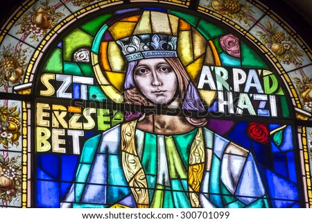 BUDAPEST, HUNGARY, JULY 9, 2015: Stained glass portrait of Szt. Erzsebet inside St. Stephen's Basilica, Budapest, Hungary.