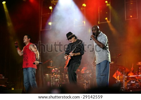 BUDAPEST, HUNGARY - JUNE 28: Carlos Santana performing his band on T-Mobile concert in Budapest, Hungary on June 28 2008 - stock photo