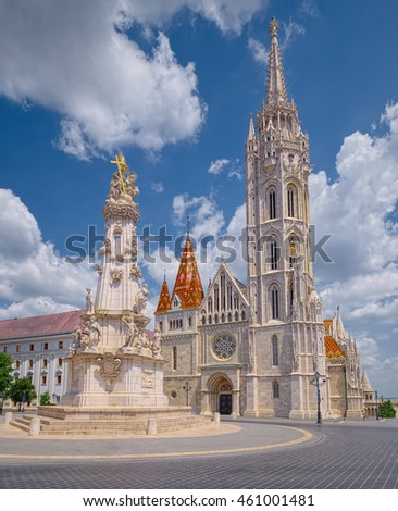 BUDAPEST, HUNGARY - JUNE 9, 2016: Holy Trinity Column and St. Matthias Church in Buda Castle of Budapest, Hungary.