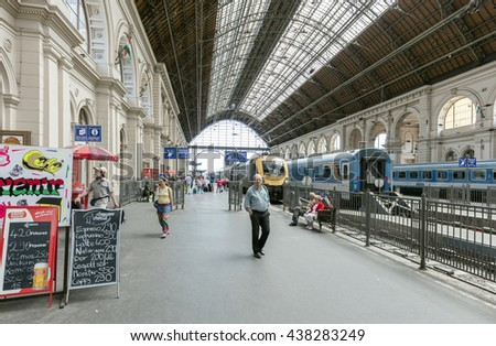 BUDAPEST, HUNGARY - JUNE 16, 2016: Interior of Keleti Station in Budapest. Keleti is the Eastern railway station, was opened in 1884 and is among largest in Europe.