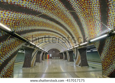 BUDAPEST, HUNGARY - JUNE 12, 2016: Interior of Szent Gellert subway station in Budapest, Hungary, opened in 2014, mosaic decoration designed by Tamas Komoroczky.