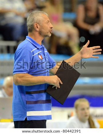 BUDAPEST, HUNGARY - JUNE 18: Jiri Siller (bulgarian teams trainer) in action at a CEV European League woman's volleyball game Hungary vs Czech Republic on June 18, 2011 in Budapest, Hungary.