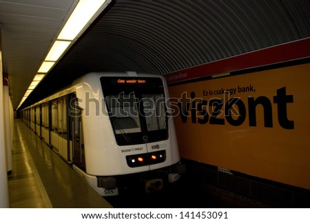 BUDAPEST, HUNGARY - JUNE 7 : Subway at June 7, 2013 in Budapest, Hungary. New subway has arrived to Budapest in exchange for the old Soviet-mad cars. They served the city for over forty years.
