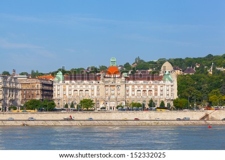BUDAPEST, HUNGARY - JUNE 8:View of swimming baths Gelert , on June 8, 2012 in Budapest, Hungary. The bathing complex settles down in the beautiful building built in style secession in 1918.