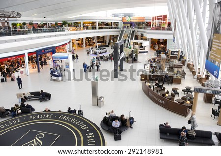 BUDAPEST, HUNGARY - MARCH 27: departure lounge at Budapest Ferenc Liszt International Airport on March 27, 2015 in Budapest, Hungary. 9.16 million passengers used Budapest Airport in 2014. - stock photo