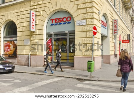 BUDAPEST, HUNGARY - MARCH 27: exterior of a Tesco supermarket on March 27, 2015 in Budapest, Hungary. Hungary is one of five countries worldwide where Tesco is the grocery market leader. - stock photo