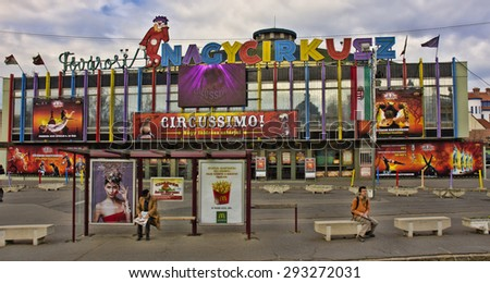 BUDAPEST, HUNGARY - MARCH 25: exterior of the Budapest Circus on March 25, 2015 in Budapest, Hungary. Budapest is the capital and largest city in Hungary, with a population of 1.73 million. - stock photo