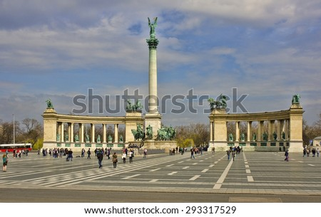 BUDAPEST, HUNGARY - MARCH 25: Heroes Square on March 25, 2015 in Budapest, Hungary. Budapest is the capital and largest city in Hungary, with a population of 1.73 million.  - stock photo