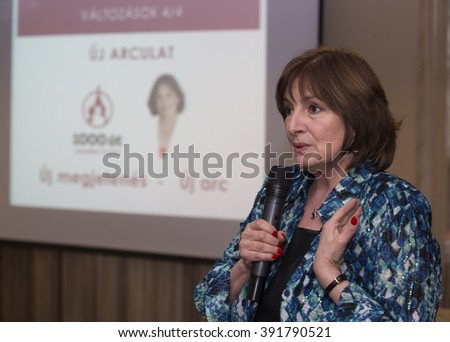 BUDAPEST, HUNGARY, MARCH 2,2016: Judit Endrei, famous hungarian television presenter on the announcing ceremony of 1000Ut Travel agency in Medosz Hotel. - stock photo