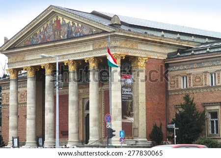 BUDAPEST HUNGARY-MARCH 18: Kunsthalle  Heroes' Square on March 18, 2013 in Budapest, Hungary - stock photo