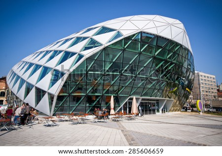 "Budapest, Hungary - March 28, 2015: Modern building ""Balna"" (Whale) in the  Budapest, Hungary. The building is a project that uses the architecture to create a mixed-use living space  - stock photo"