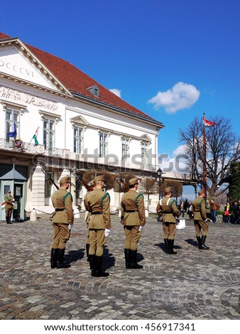 Budapest, Hungary - March 03, 2014 : Presidential guard Budapest, Hungary. Hungary's presidential office in the Castle District is heavily guarded by presidential guards.