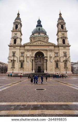 BUDAPEST, HUNGARY - MARCH 13, 2015: St. Stephen's Basilica is a Roman Catholic basilica in Budapest, Hungary. March 13, 2015. Budapest, Hungary - stock photo
