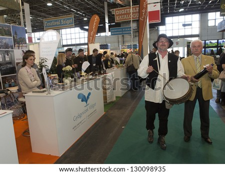BUDAPEST, HUNGARY - MARCH 2: Unidentified exhibitors on the 36th Travel (2013)  International Tourist Exposition, largest fair its kind in Central Europe  on March 2, 2013 in Budapest, Hungary.