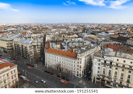 Budapest, Hungary, March 22, 2014 . View of the city from the observation platform of the Basilica of St. Stephen